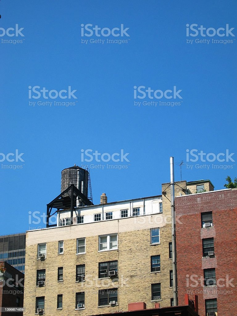 Rooftop water tower stock photo