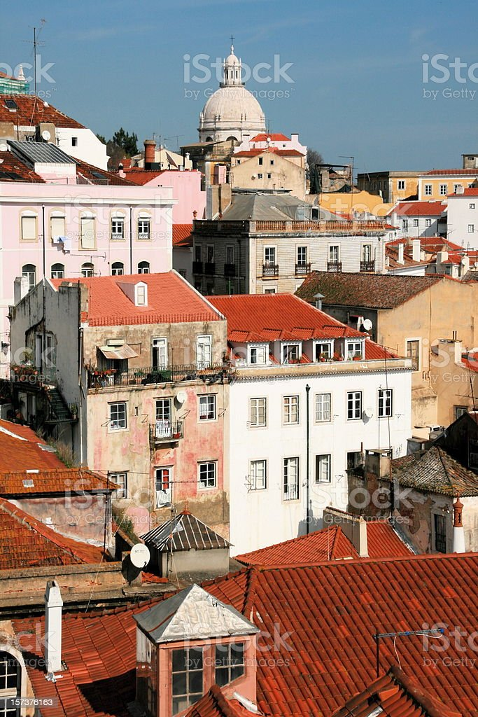 Rooftops and buildings of Alfama, the old district in Lisbon royalty-free stock photo