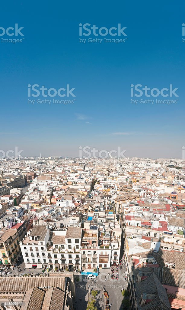 Rooftops and plazas vertical Seville Spain stock photo