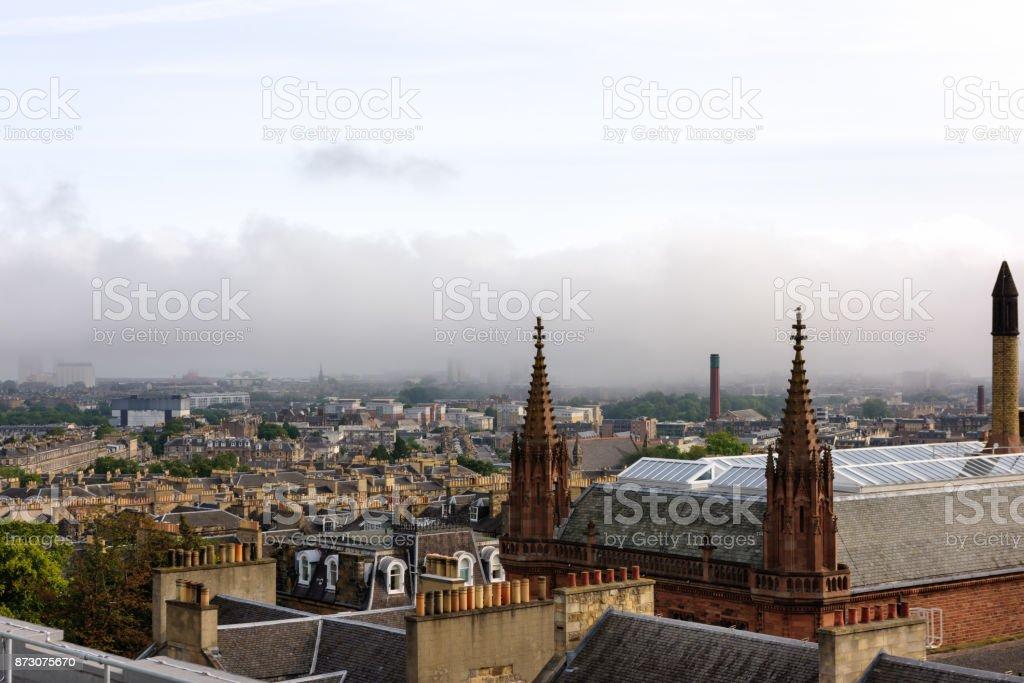 Rooftops, foggy morning, Edinburgh, Scotland stock photo