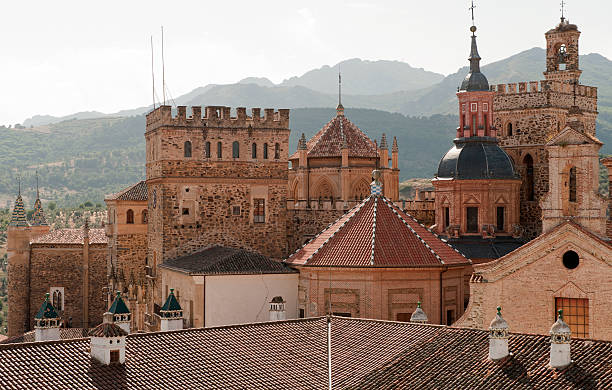 Rooftops Guadalupe Spain stock photo