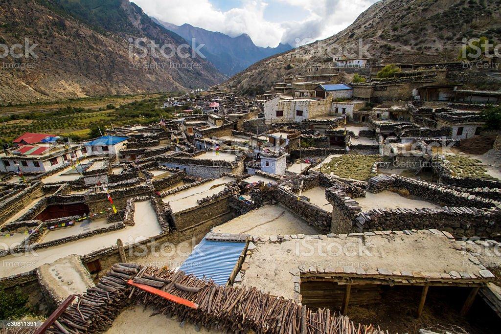Rooftops in Marpha, Nepal stock photo