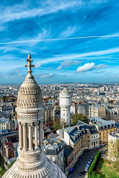 rooftops of buildings in montmartre, paris - montmatre utsikt bildbanksfoton och bilder