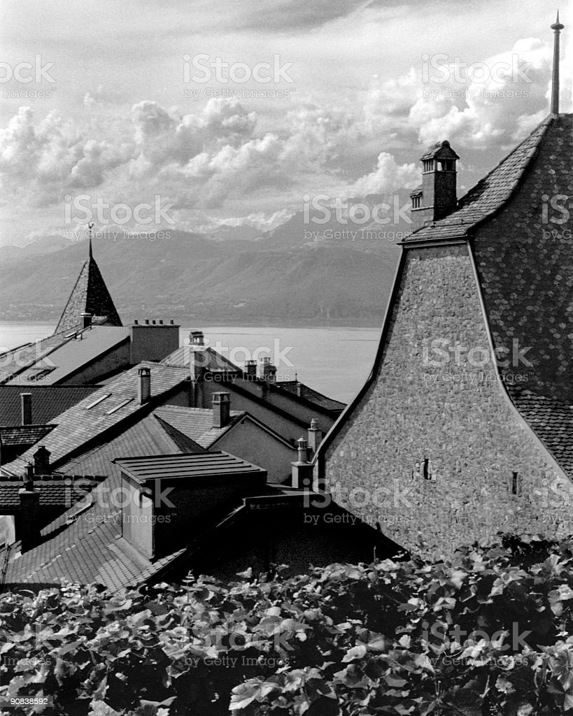 Rooftops of Grandvaux, Switzerland (b/w) royalty-free stock photo