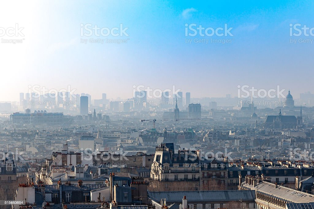 Rooftops of Paris showing monuments stock photo