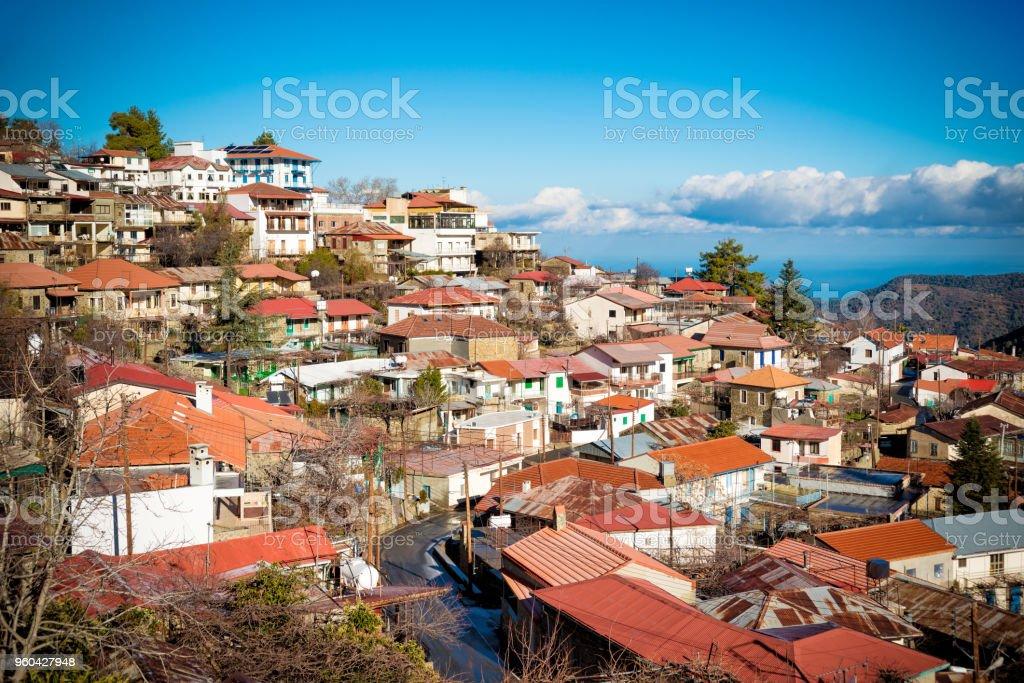 Rooftops of Pedoulas. Nicosia District, Cyprus stock photo