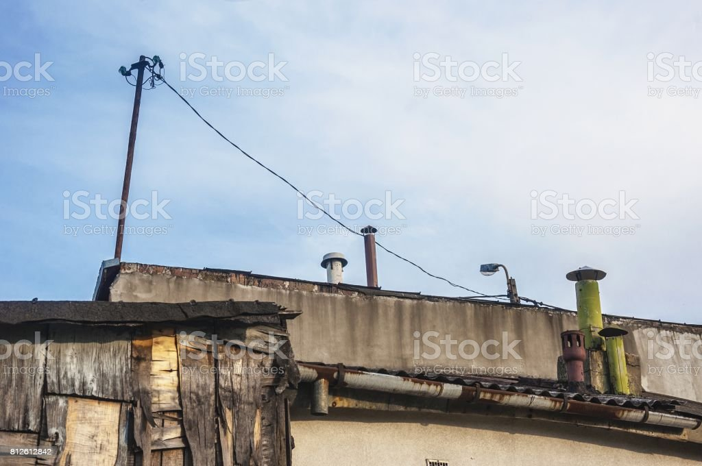 rooftops of poor sheds and buildings in slums stock photo