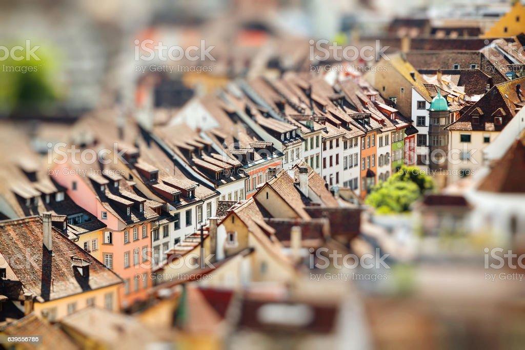 Rooftops of Schaffhausen a town in Switzerland. Miniature stock photo