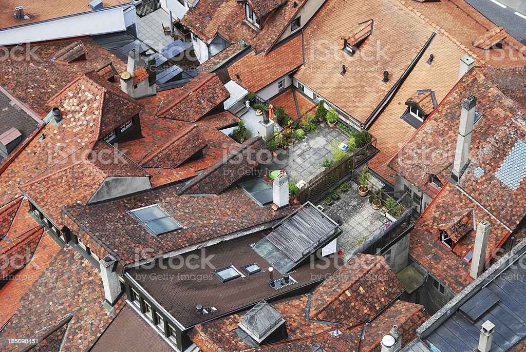 Rooftops of the old city with roof gardens. royalty-free stock photo