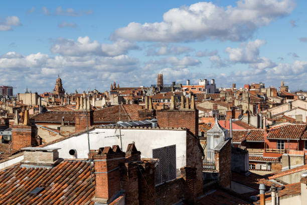 Rooftops of Toulouse in France stock photo