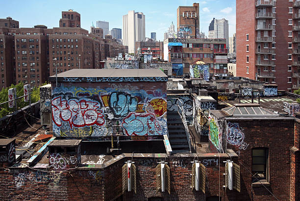 rooftops with graffiti, new york city - lower east side manhattan stock pictures, royalty-free photos & images