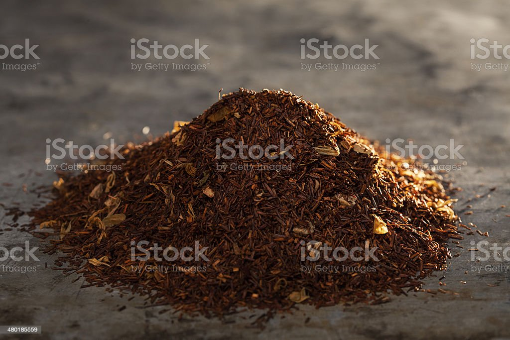 Rooibos Tea on a metal texture stock photo