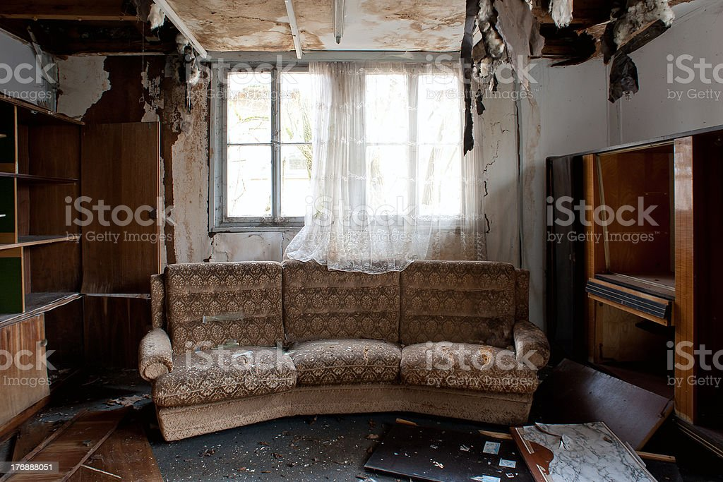 Room after a fire stock photo