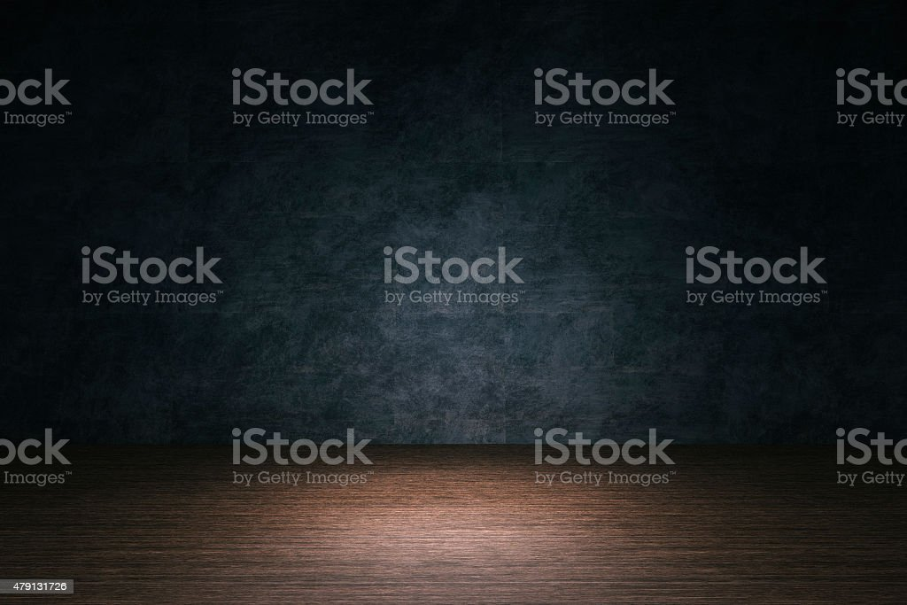 Room background, hardwood floor, stone wall stock photo