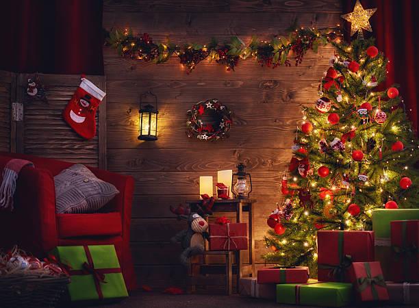 room decorated for christmas - holiday background zdjęcia i obrazy z banku zdjęć