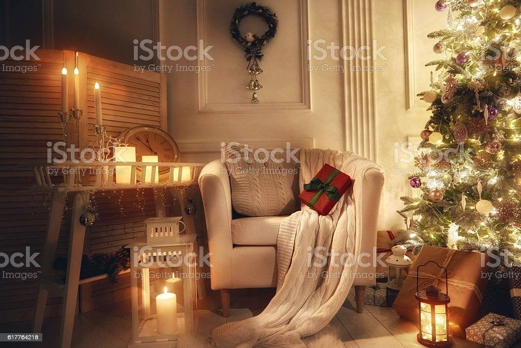 room decorated for Christmas stock photo