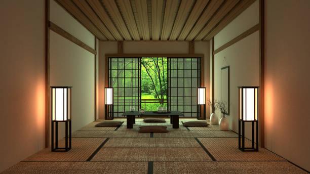 room design japanese-style. 3d-rendering - meditationsräume stock-fotos und bilder
