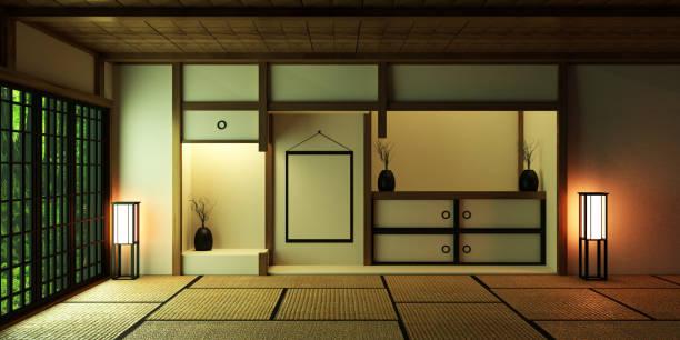 和室のデザイン。3d レンダリング - 畳 ストックフォトと画像
