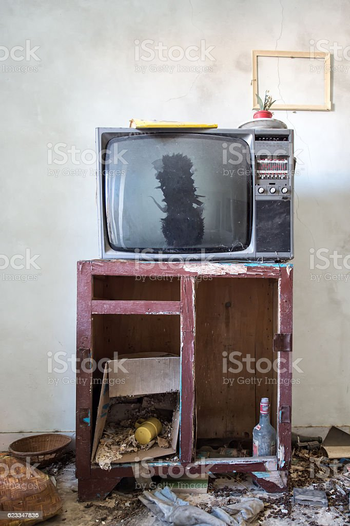 Room destroyed with furniture and old television stock photo