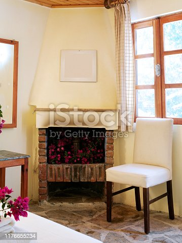 Fireplace in a log cabin