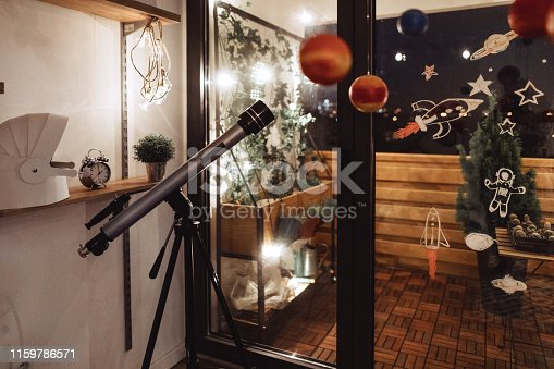 Room for kids at night in outer space decoration style