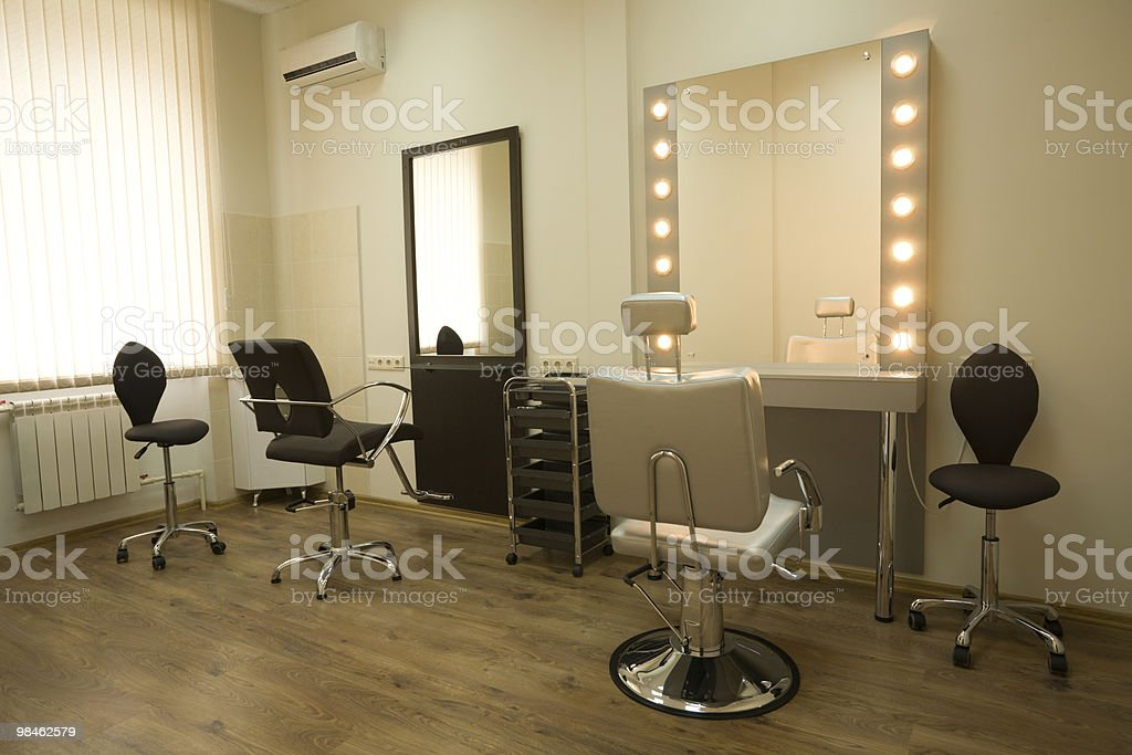 Room for make-up artist and hairdresser with vanities royalty-free stock photo