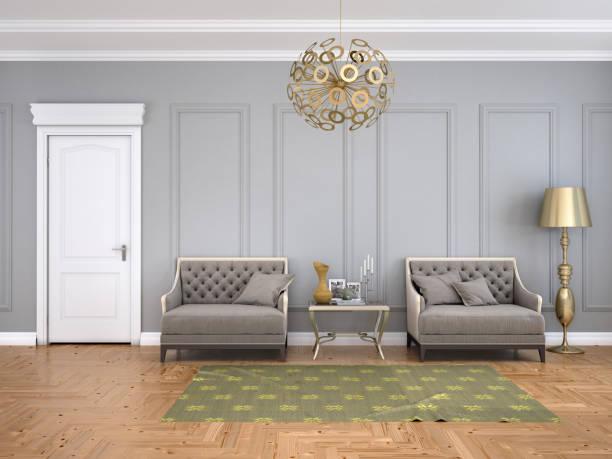 zimmer im klassischen stil mit einer tür und sessel. - oliven wohnzimmer stock-fotos und bilder