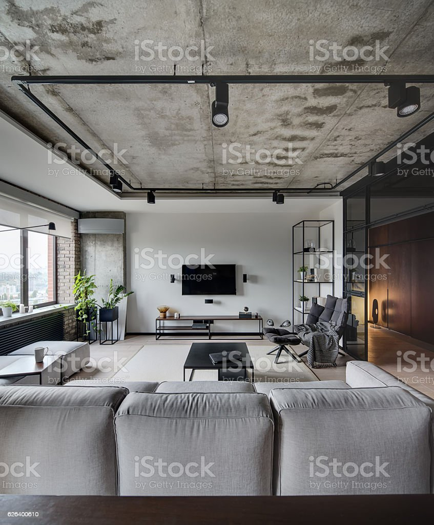 Room in loft style stock photo
