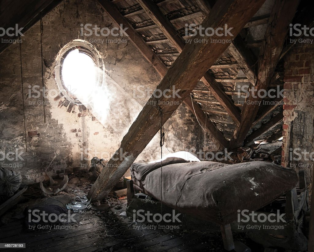 Room in the state of decay in ruin royalty-free stock photo