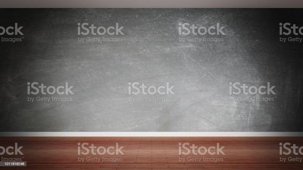 Room interior, empty blackboard wall and wooden floor