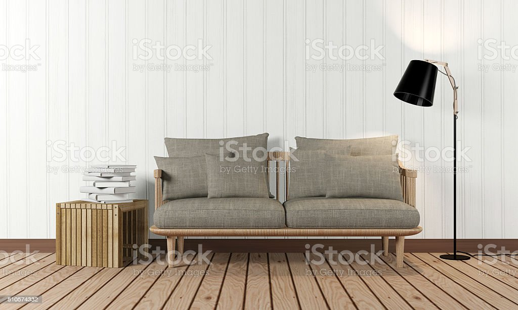 Room interior in minimalist style stock photo