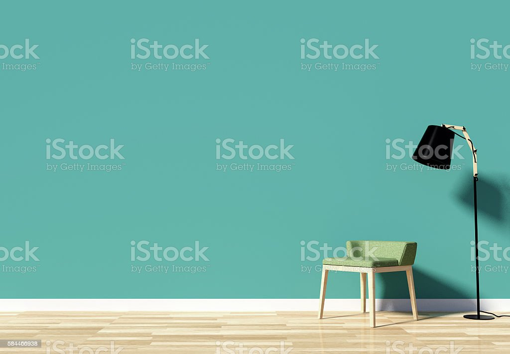 Room interior with empty space and green wall – Foto