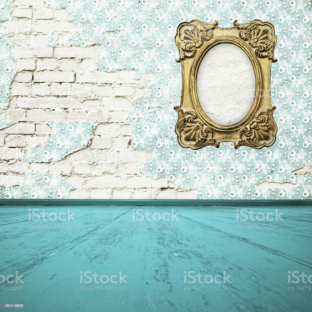 Room Interior With Gold Frame royalty-free stock photo