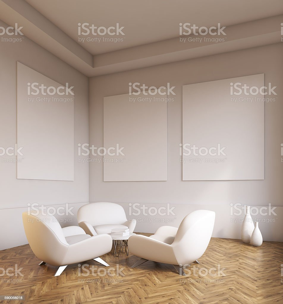 Room Interior With Sofas And Light Grey Walls Stock Photo Download Image Now Istock