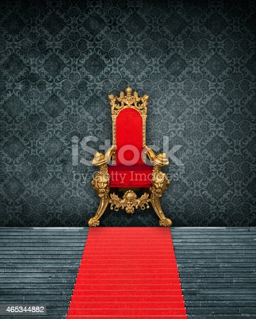 Room Interior With Throne And Red Carpet – the photo is a collage of self-created wallpaper, isolated throne (shopping mall / christmas decoration and steps with red carpet (Gendarmenmarkt Berlin)