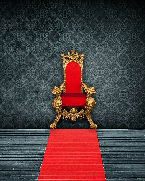 Room Interior With Throne And Red Carpet Room Interior With Throne And Red Carpet – the photo is a collage of self-created wallpaper, isolated throne (shopping mall / christmas decoration and steps with red carpet (Gendarmenmarkt Berlin) royalty stock pictures, royalty-free photos & images