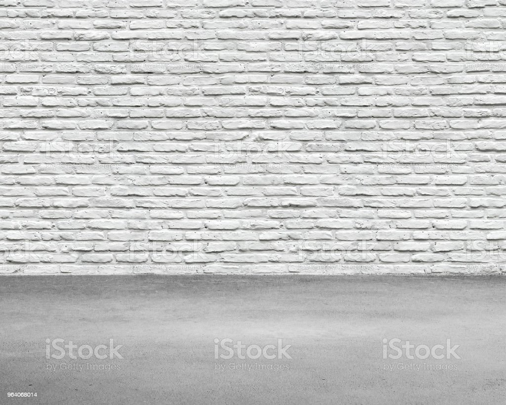 Room interior with white brick wall and concrete floor - Royalty-free Backgrounds Stock Photo