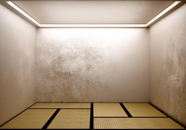 畳のデザインの和室。3d レンダリング - 畳 ストックフォトと画像