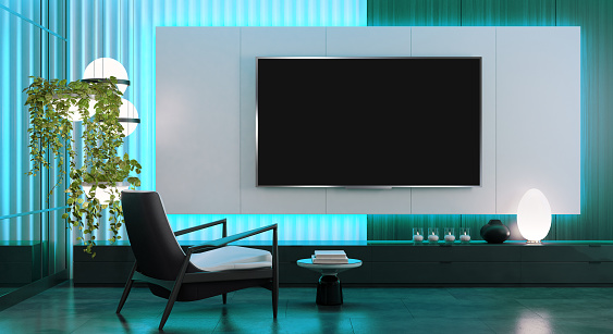 Modern and minimalist living room with 8K TV flat screen wall-mounted. Modern armchairs. 3d renderings.