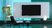 istock 8K TV Room modern minimalist living room with flat TV 1328869733