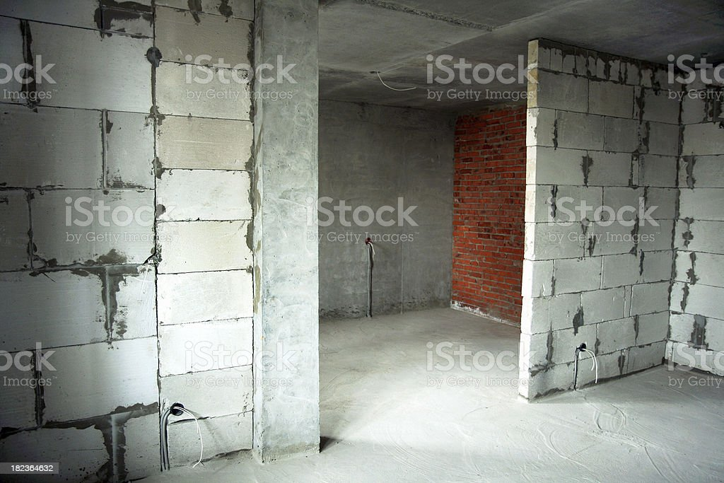Room of a new-built apartment house royalty-free stock photo