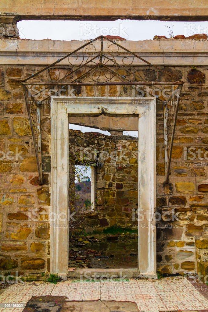 Room of abandoned mansion Dacha Kvitko, Sochi, Russia stock photo