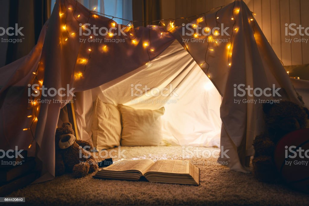 room of children empty tent lodge in the evening stock photo