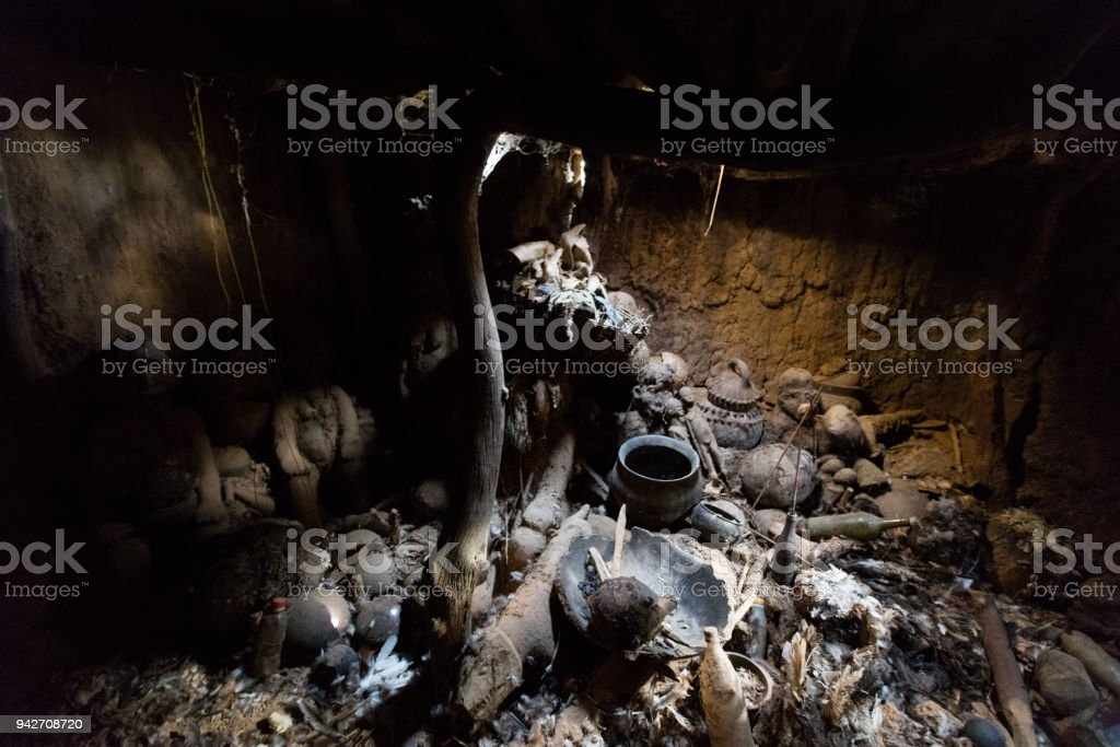 Room of fetishes in Lobi village stock photo