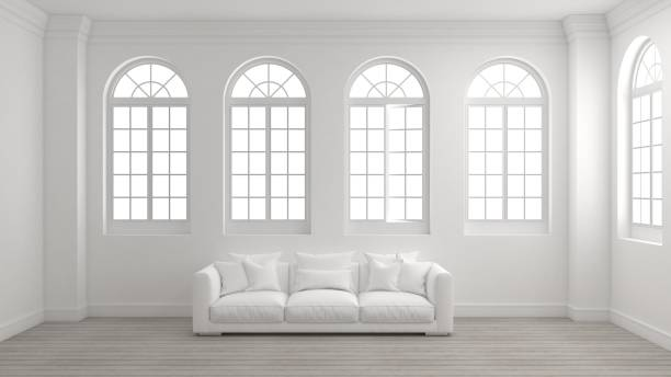 Room of interior with white wall, wooden floor, arched windows and a sofa. Room of interior with white wall, wooden floor, arched windows and a sofa with bright light outside. Concept of new planning home, start to moving in or mock up room for your product. 3d illustration. arch stock pictures, royalty-free photos & images