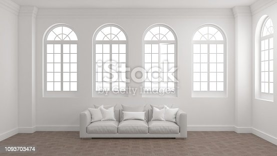 istock Room of interior with white wall, wooden floor, arched windows and a sofa. 1093703474