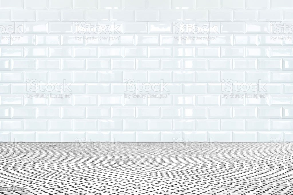 Room perspective,white ceramic tile wall and mosaic tile ground stock photo