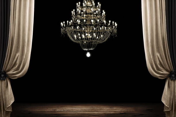 room Image of grunge dark room interior with wood floor and chandelier. Background chandelier stock pictures, royalty-free photos & images