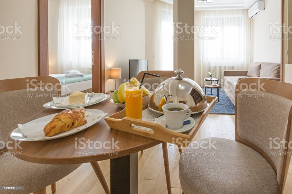 Room service, breakfast served  in hotel room stock photo