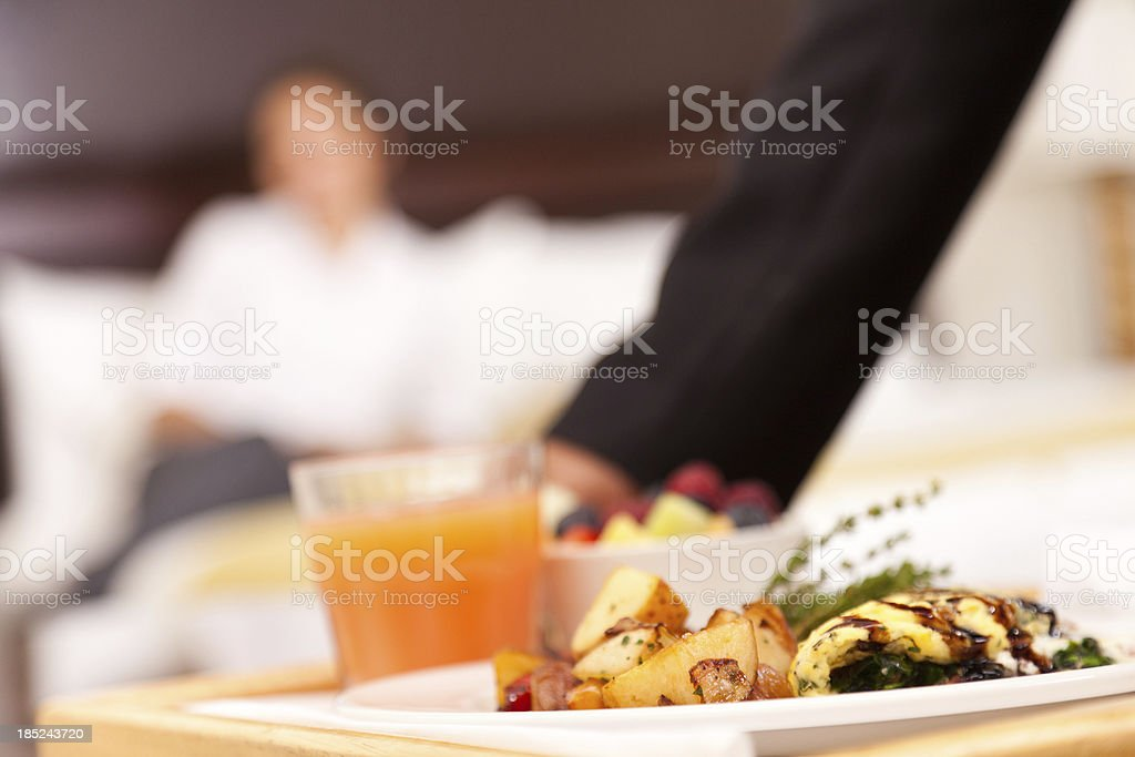 Room service breakfast tray in hotel room stock photo